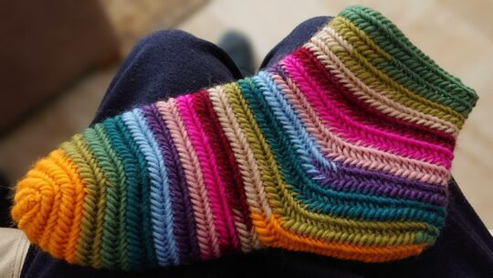 Needlebinding thin summer socks.